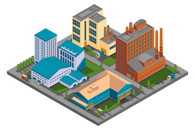 Factory in isometric view