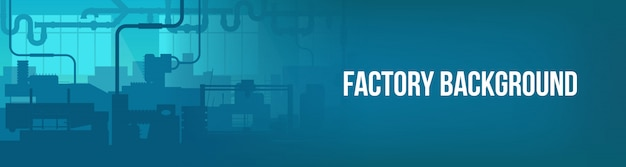 Factory line manufacturing industrial plant scene banner background