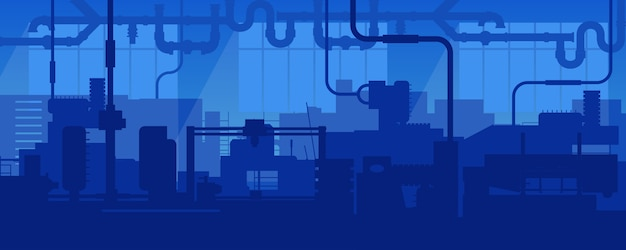 Factory line manufacturing industrial plant scene.