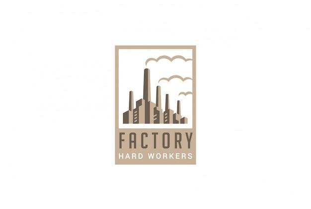 工場のロゴのレトロなスタイルのベクトルのアイコン。