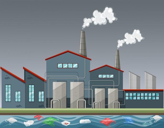 たくさんの煙を出す工場