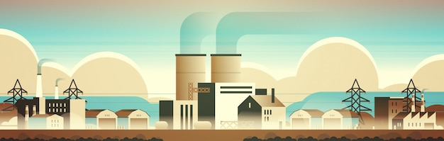 Factory manufacturing buildings industrial zone plants with pipes and chimneys
