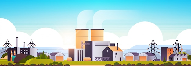 Factory manufacturing buildings industrial zone plants with pipes
