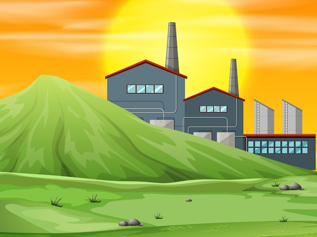 A factory in nature scene