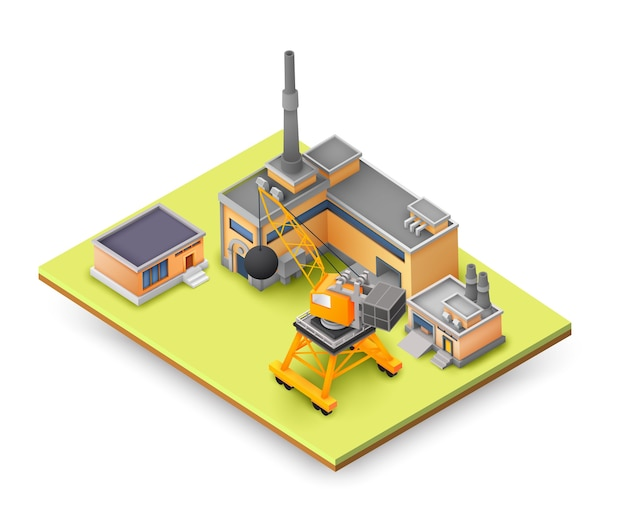 Factory objects design concept on yellow panel with industrial constructions, colored buildings, lifting equipment and different objects concept