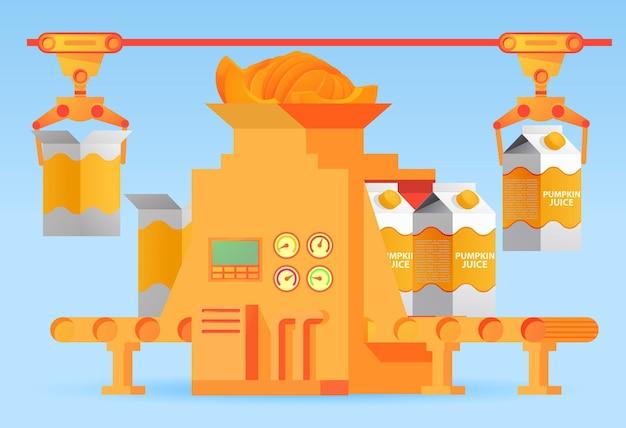 상자의 공장 포장 컨베이어 호박 주스. 달콤한 탄산수. 디자인 산업 자동화 식품 공장 기계의 개념.
