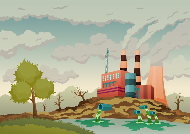 Factory plant smokes with smog, trash emission from pipes to river water.