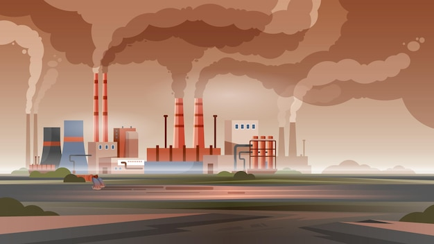 Factory pollution city air and water with smoke and toxic waste flat illustration