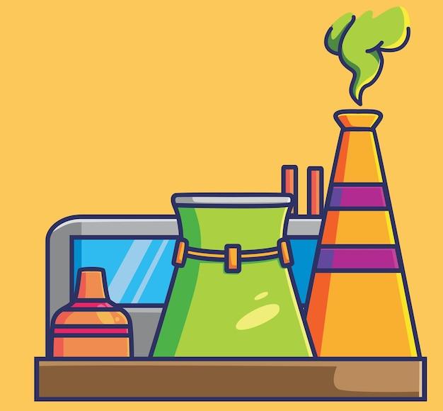 공장 오염 연구실. 만화 격리 된 평면 스타일 스티커 웹 디자인 아이콘 그림 프리미엄 벡터 로고 마스코트 캐릭터