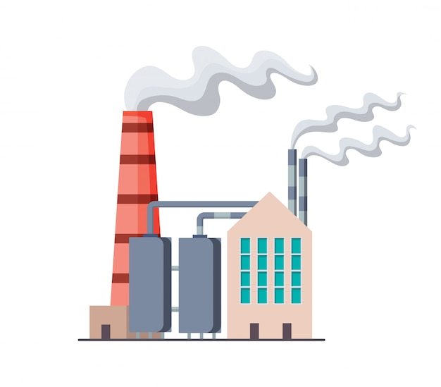 Factory or power plant flat design. manufactory industrial building refinery factory or nuclear power station. building big of plant or factory with pipe smoke