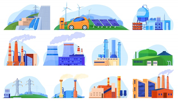 Factory power plants set of industrial constructions, urban enviroment, manufacturing stations   illustration.