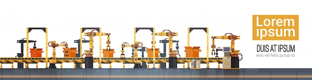 Factory production conveyor automatic assembly line machinery industrial automation industry concept