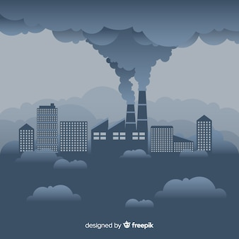 Factory pulling smoke out flat design