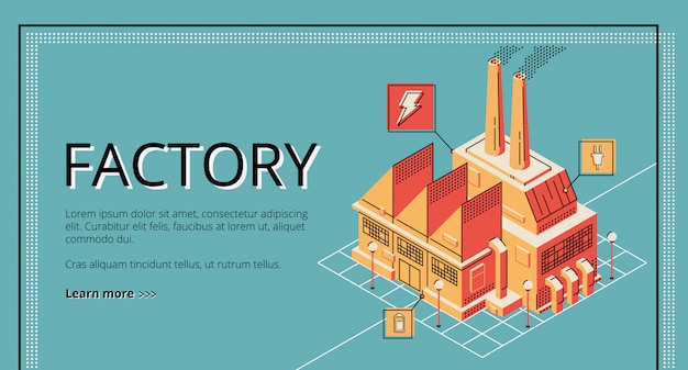 Factory on retro colored background.