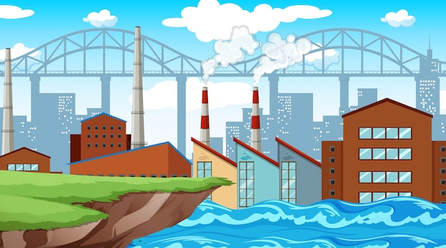 Factory on river background
