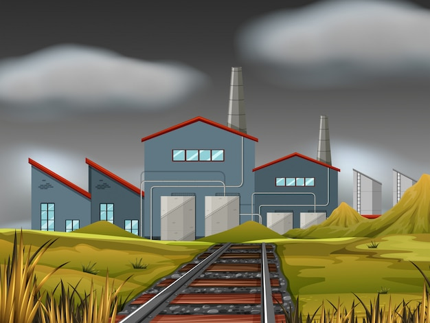 A factory scene background