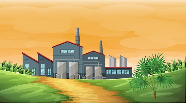 Factory scene with smoke stacks and cooling towers