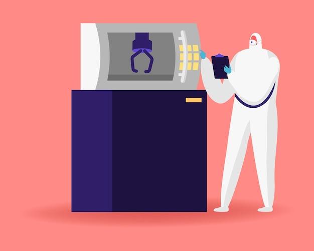 현대 산업 3d 인쇄 기계에서 멸균 의류 작업의 공장 과학자 캐릭터.