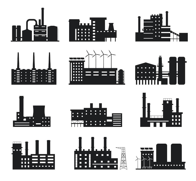 Factory silhouette. industrial building icons. manufacture plant and power station with chimneys, windmills and solar panels logo vector set. alternative energy sources equipment and company