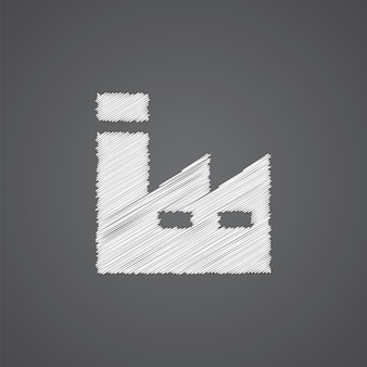 Factory sketch logo doodle icon isolated on dark background