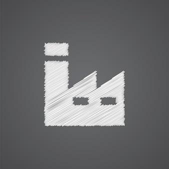 暗い背景に分離された工場スケッチロゴ落書きアイコン