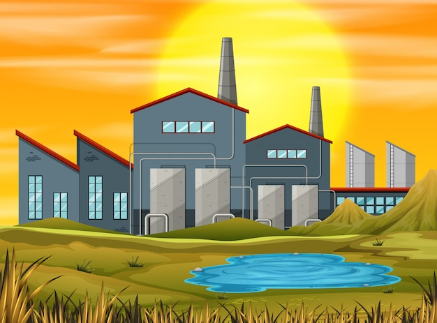 Factory in sunset scene
