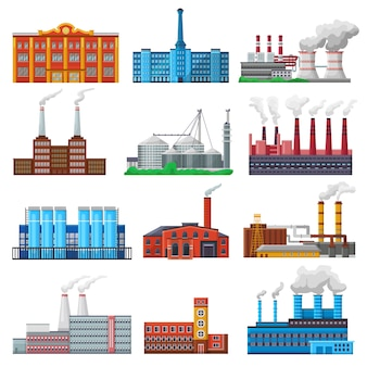 Factory vector industrial building and industry or manufacture with engineering power illustration set of manufacturing construction producing energy or electricity isolated