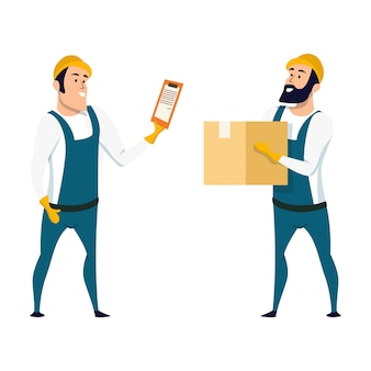 Factory warehouse worker checking box with list