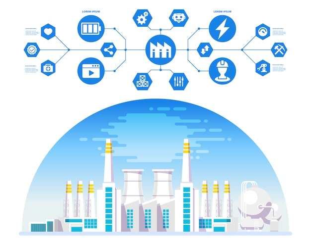 Factory with cyber and physical system icons