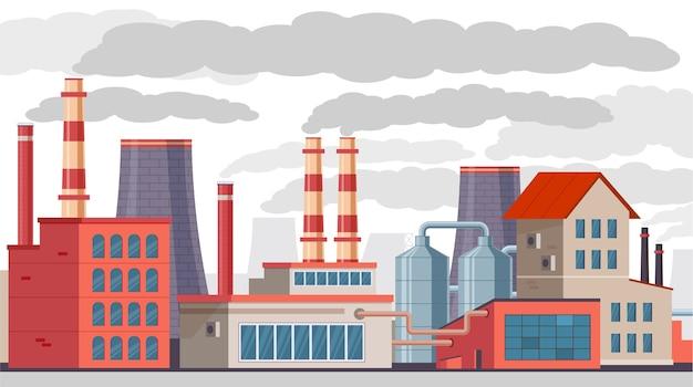 Завод с трубами загрязняет воздух и окружающую среду