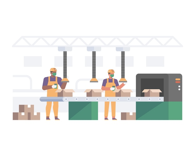 Работник фабрики работает и носит маску для лица и соблюдает правила охраны труда и техники безопасности для предотвращения передачи вируса с помощью иллюстрации социального дистанцирования