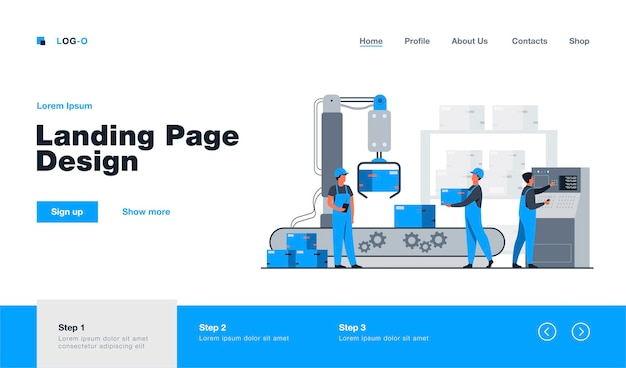 공장 노동자와 로봇 팔이 컨베이어 라인에서 패키지를 제거합니다. 컴퓨터 및 운영 프로세스를 사용하는 엔지니어. 비즈니스, 생산, 기계 기술 개념 방문 페이지에 대한 그림