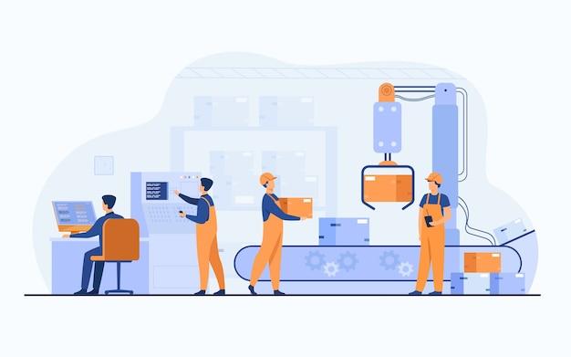 공장 노동자와 로봇 팔이 컨베이어 라인에서 패키지를 제거합니다. 컴퓨터 및 운영 프로세스를 사용하는 엔지니어. 비즈니스, 생산, 기계 기술 개념에 대한 벡터 일러스트 레이션