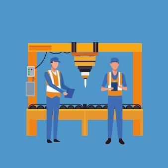 Factory workers cartoon