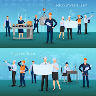 Factory workers team banners set