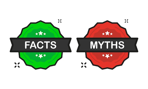 Facts or myths badge green and red stamp icon in flat style on white background. vector illustration.