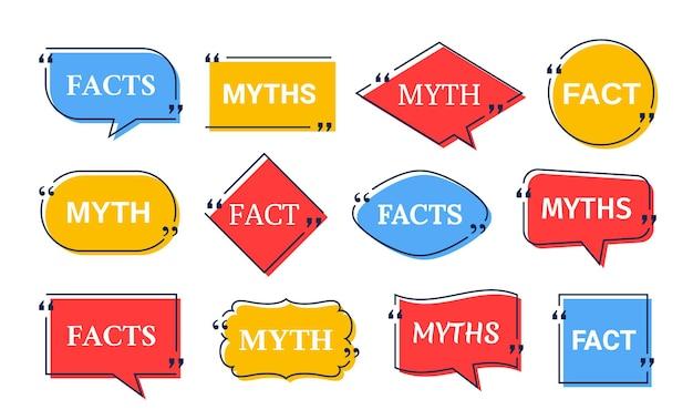 Facts myths in speech bubbles. vector illustration.