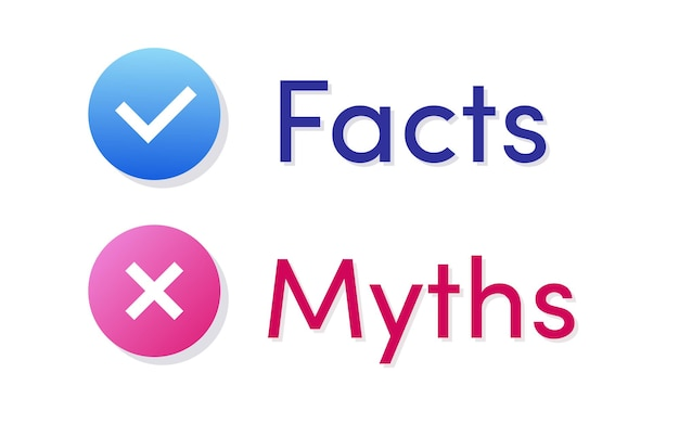 Facts and myths vector icon isolated on white background factchecking or easy compare evidence