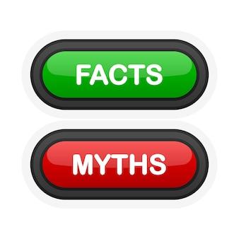 Факты или мифы зеленая или красная реалистичная кнопка 3d на белом фоне. щелкнула рука. векторная иллюстрация.