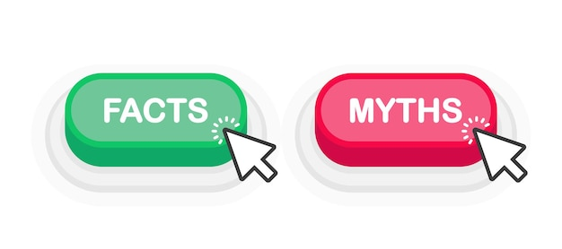 Факты или мифы зеленая или красная реалистичная кнопка 3d на белом фоне. щелкнула мышка. векторная иллюстрация.