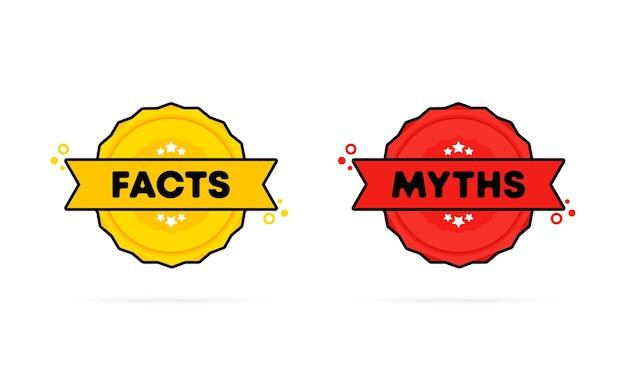 Штамп факты или мифы. вектор. значок значка «факты или мифы». сертифицированный значок с логотипом. шаблон штампа. этикетка, наклейка, значки. вектор eps 10. изолированный на белой предпосылке.