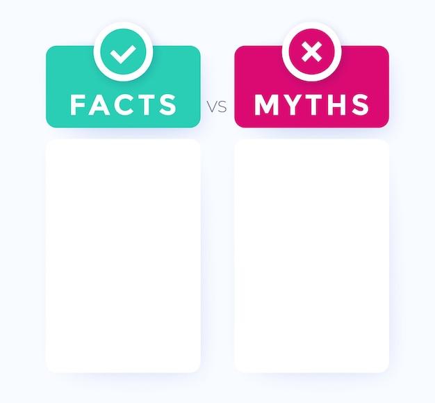 Facts vs myths concept, vector design