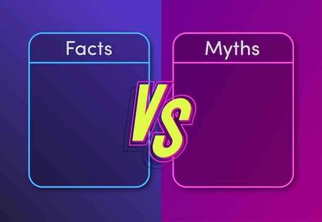 Факты против мифов, концепция неонового стиля, иллюстрация, проверка фактов или концепция простого сравнения доказательств