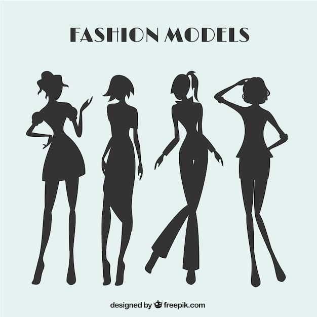 Fahion modelli solhouettes set