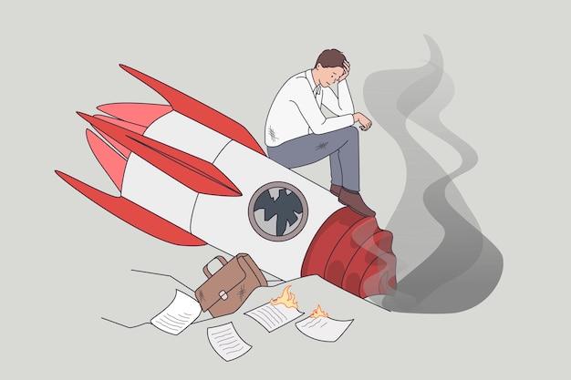 실패하고 추락한 비즈니스 로켓 시작. 깨진 발사 미사일에 서 있는 슬픈 비즈니스 관리자의 벡터 개념 그림.