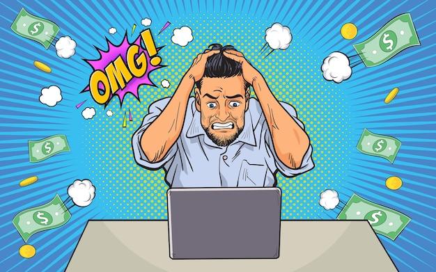 失敗したストレスの多いビジネスマンは、頭の上のコンピューターの手とomgポップアートコミックの仕事からお金を失った