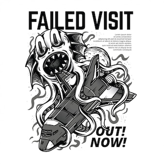 Failed visit black and white illustration