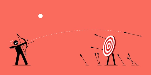 Failing to hit the target. man desperately trying to shoot arrows with bow to hit the bullseye but failed miserably.