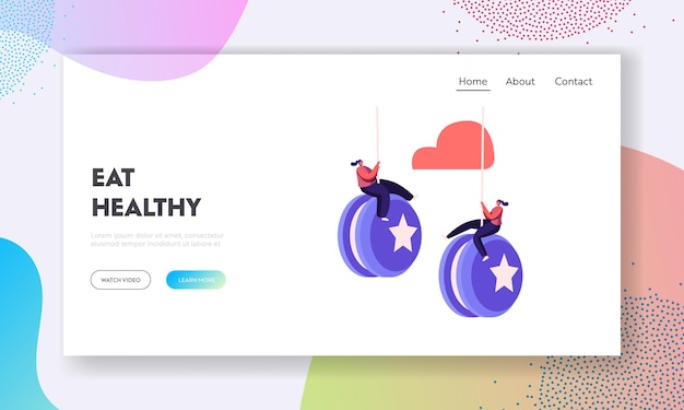 Failure, disruption of healthy eating and lifestyle landing page template.