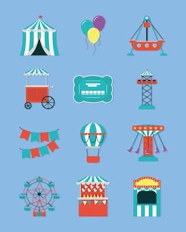 Fair carnival icon set design